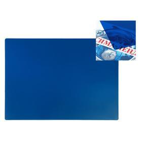 Накладка на стол пластик А3, ОФИС 460 х 330 мм, 500 мкм, прозрачная тонированная, тёмно-синий