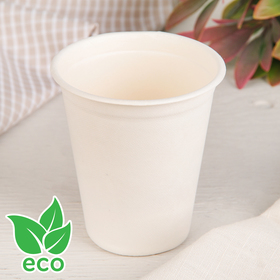 Стакан 260 мл «ECO», из сахарного тростника, 25 шт/уп, цвет белый Ош
