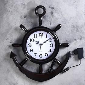 Часы настенные, серия: Море, 'Штурвал', d=25 см, плавный ход, с подсветкой, 1 АА Ош