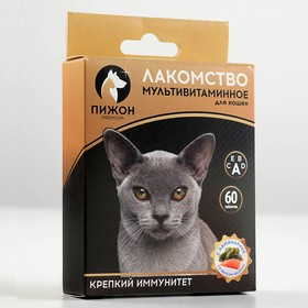 Лакомство для кошек  'Пижон. Крепкий иммунитет' с ламинарией и форелью, 60 таб Ош