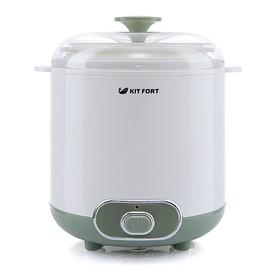 Йогуртница Kitfort КТ-2005, 20 Вт, 1х1.5 л, пластик, бело-зелёная Ош