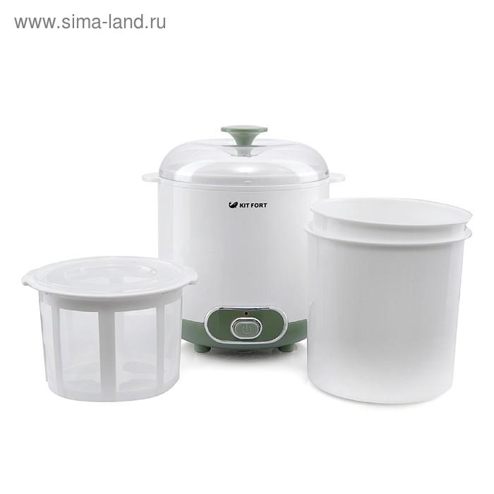 Йогуртница Kitfort КТ-2005, 20 Вт, 1х1.5 л, пластик, бело-зелёная