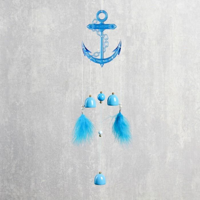 Музыка ветра пластик Якорь 3 колокольчика пёрышки 58х8 см