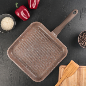 Сковорода-гриль «Алтай», d=26 см, ручка soft-touch, антипригарное покрытие