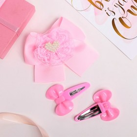 Набор для волос 'Бантики' (2 невидимки, 1 зажим) сердечко, розовый Ош