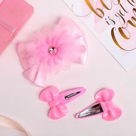 Набор для волос 'Бантики' (2 невидимки, 1 зажим) пышный цветок, розовый Ош