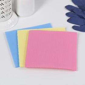 Губка-салфетка из целлюлозы 15×15 см Голубушка «Супервпитывающая», 3 шт , цвет МИКС
