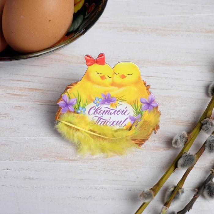 Магнит с доп.элементом «Цыплята в гнезде»