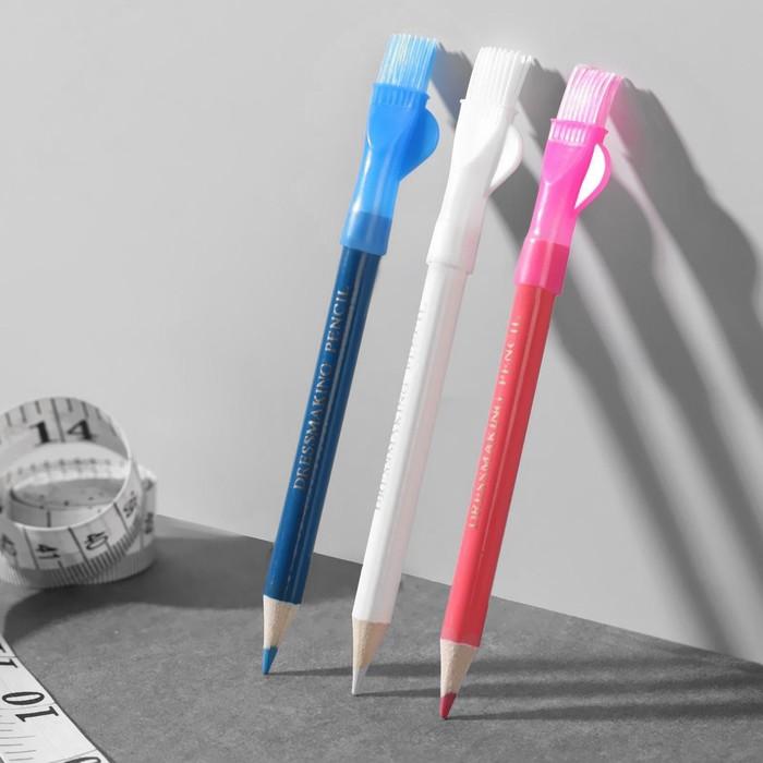 Карандаш для ткани с щёткой, 3 шт, цвет белый, розовый, синий