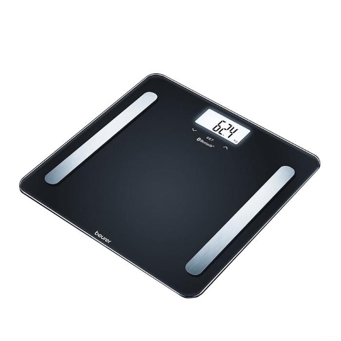 Весы напольные Beurer BF 600 Pure Black, диагностические, до 180 кг, 3хААА, стекло, чёрные