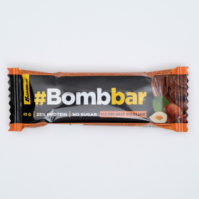 Протеиновый батончик в шоколаде Bombbar, фундучное пралине, 40 г