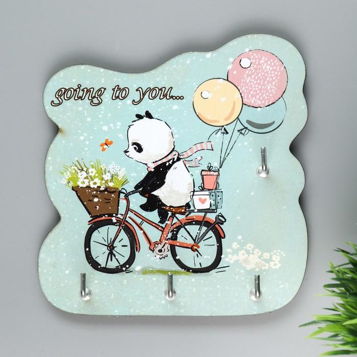 """Ключница """"Панда на велосипеде"""""""