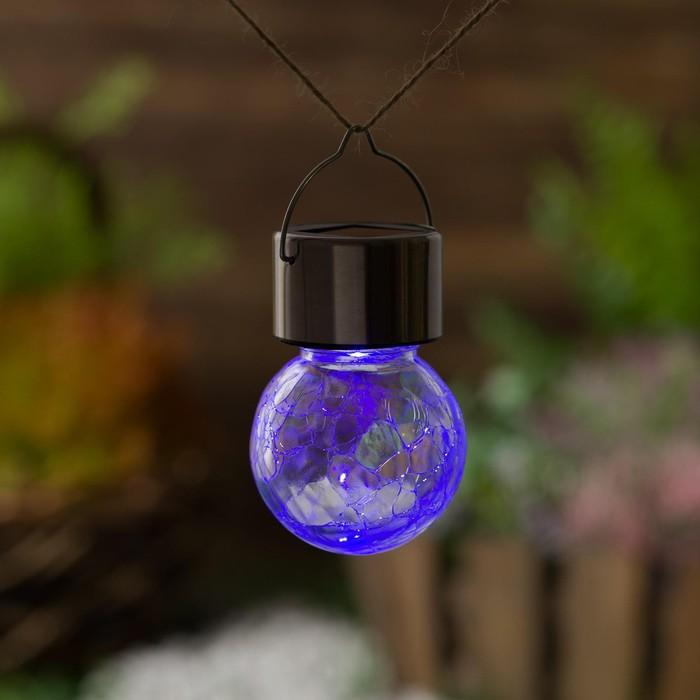 "Фонарь садовый на солнечной батарее ""Лампочка Прозрачная"", 60 х 90 мм, 1led, стекло, RGB"