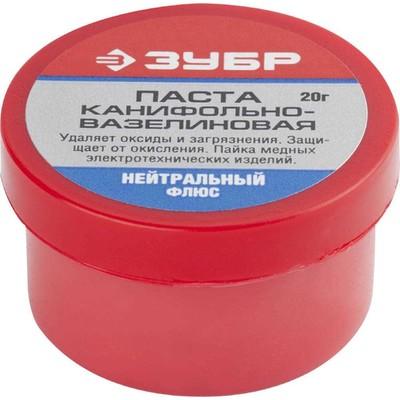 Паста паяльная канифольно-вазелиновая ЗУБР 55475-020, флюс нейтральный, 20гр