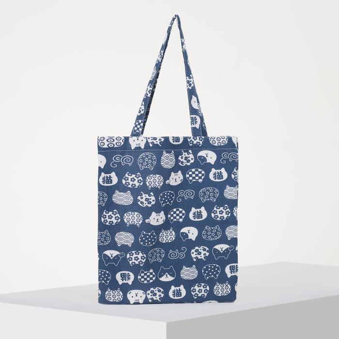 Сумка текстильная, отдел без молнии, без подклада, цвет синий