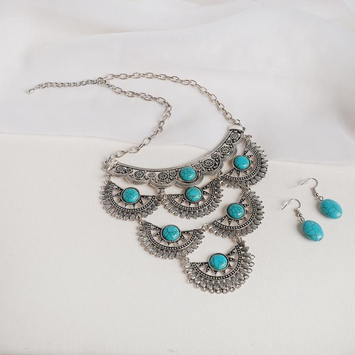 Набор 2 предмета серьги, колье Эльфийское ярусы, цвет голубой в чернёном серебре, L43