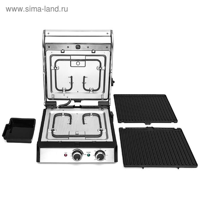 Электрогриль Kitfort KT-1629, 2000 Вт, регулировка t°, 29 х 23 см, чёрно-серебристый