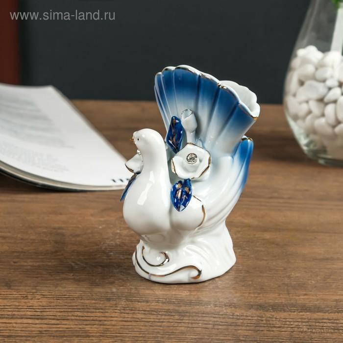 "Сувенир керамика вазон ""Голубка с розами"" синий, стразы 11,5х8х7 см"