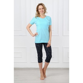 Костюм (футболка,бриджи) 833 Светлана цвет голубой/черный, р-р 42 Ош