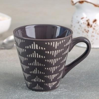 Кружка Доляна «Штрихи», 180 мл, 11×8,2×7,7 см, цвет коричневый - Фото 1