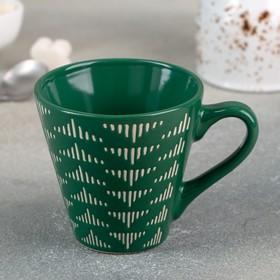 Кружка Доляна «Штрихи», 180 мл, 11×8,2×7,7 см, цвет зелёный