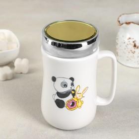 Кружка с зеркальной крышкой Доляна «Панда с кроликом», 450 мл 9,8×7,8×14,2 см