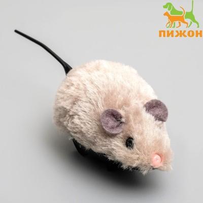 Мышь заводная меховая малая, 8,5 см, серая