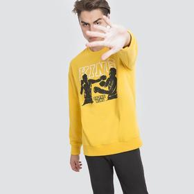 Свитшот мужской, цвет жёлтый/печать, размер 52 (XL) Ош
