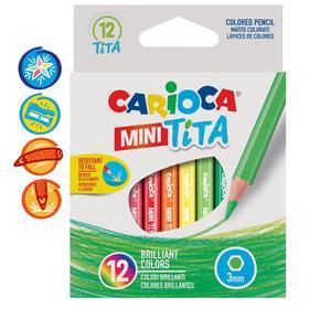 """Карандаши 12 цветов мини Carioca """"Tita mini"""", 85 мм, грифель 3.0 мм, шестигранные, пластиковые, картон, европодвес"""