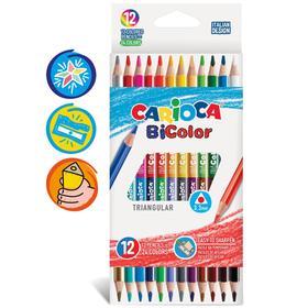 Карандаши двусторонние 12 штук, 24 цвета, СARIOCA BICOLOR, в картонной коробке, с европовесом