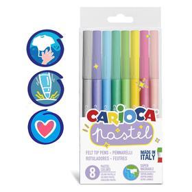 """Фломастеры 8 цветов Carioca """"Pastel"""" пастельная палитра, смываемые, блистер, европодвес"""