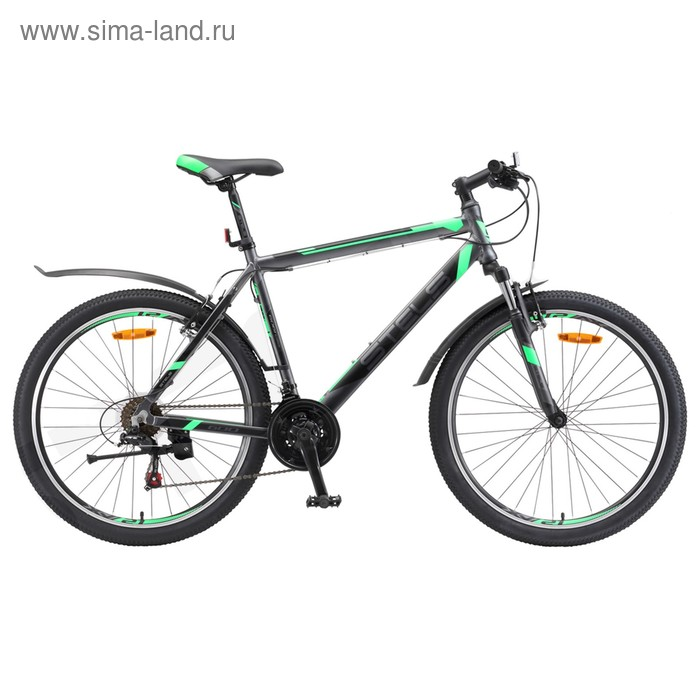 "Велосипед 26"" Stels Navigator-600 V, V020, цвет антрацитовый/зелёный, размер 16"""
