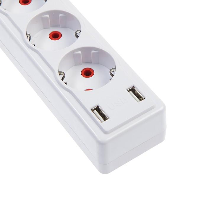 Удлинитель Luazon, трёхместный, с выключателем, 2 м, 2200 Вт, 2 х USB, 220 В, белый