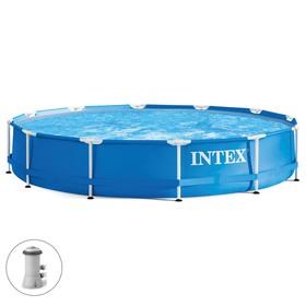 Бассейн каркасный Metal Frame Set, круглый, 366 х 76 см, фильтр-насос, 28212NP INTEX