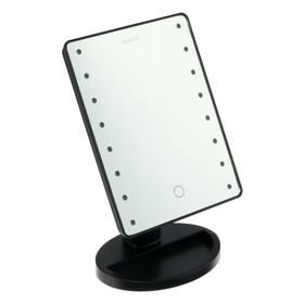 Зеркало MARTA MT-2654, подсветка, 28x6x19.5 см, 16 светодиодов, 4хАА, цвет 'чёрный жемчуг' Ош