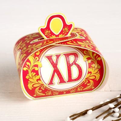 "Пасхальная коробочка ""ХВ"" глиттер, золотое яйцо, 9 х 7 х 6 см"