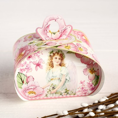 """Пасхальная коробочка """"Светлая пасха"""" ангел, розовые цветы, 9 х 7 х 6 см"""