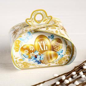 """Пасхальная коробочка """"С Праздником Светлой Пасхи!"""" золотые яйца, 9 х 7 х 6 см"""