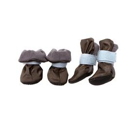Ботиночки на флисе для собак, подошва ЭВА, размер S (ботинок 4х3,5х9 см), набор 4 шт, микс Ош