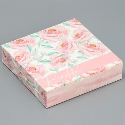 Коробка складная «Нежность», 14 × 14 × 3,5 см