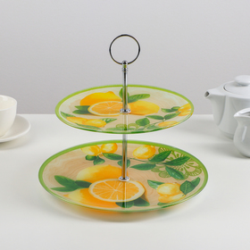 Блюдо 2-х ярусное круглое Доляна «Дольче», 25/20×24 см