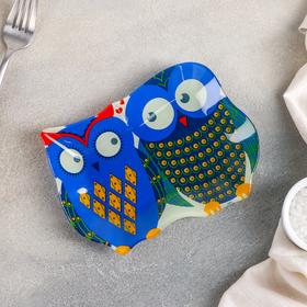 Блюдо сервировочное Доляна «Задумчивые совы», 18×13,1 см, цвет синий