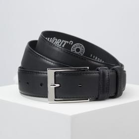 Ремень мужской, ширина 3,5 см, пряжка металл, цвет чёрный