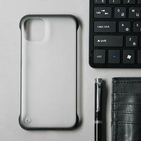 Чехол для iPhone 11, прозрачный, с окантовкой, черный