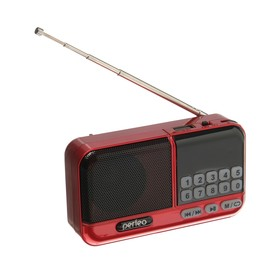 Радиоприемник Perfeo ASPEN, FM+ 87.5-108 МГц, MP3, USB, microSD, Li-ion 1200 мАч, красный Ош