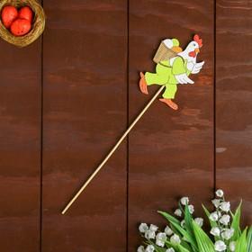 Декор на палочке «Курочка с корзиной яиц» 0,3×5,5×26 см