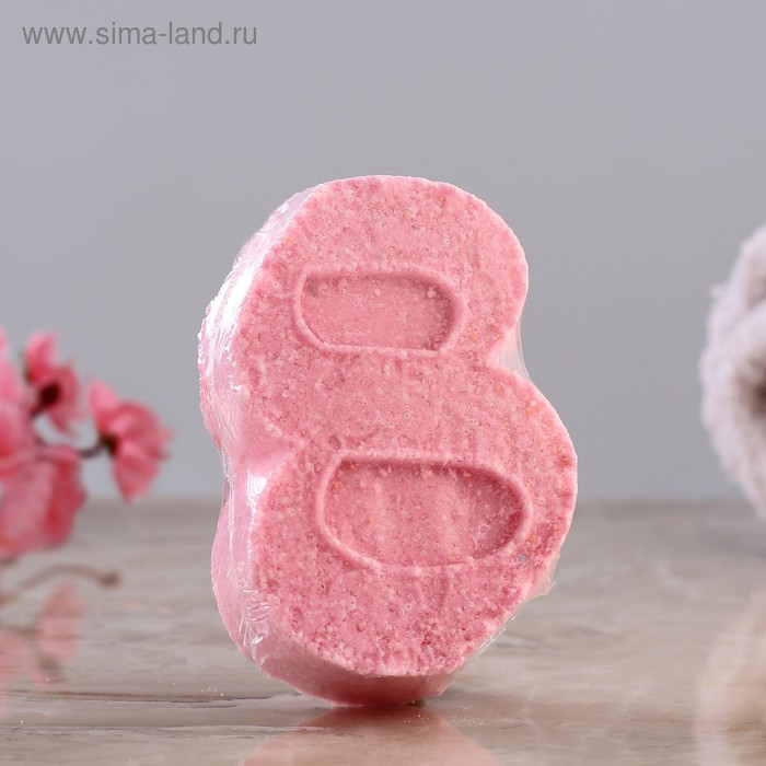 """Шипучая бомбочка """"С 8 марта"""" с ароматом миндаля, розовая"""