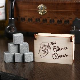 Камни для виски 'Пей like a boss', в шкатулке, 6 шт Ош