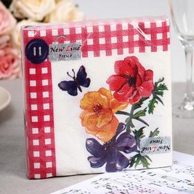 Салфетки бумажные New Line FRESCO «Цветок с пуговкой», 2 слоя, 33*33 см, 20 шт.