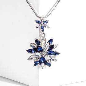 """Кулон """"Цветок"""" мимоза, цвет бело-синий в серебре, L=70"""
